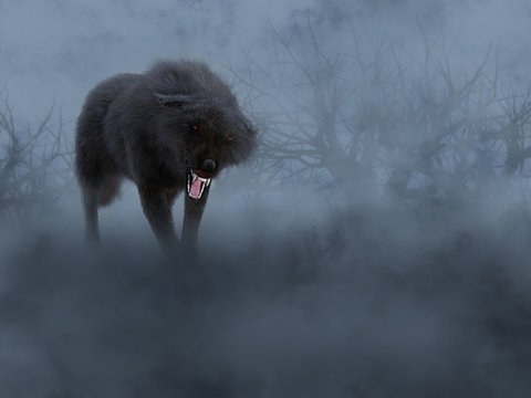 3D rendering of a black wolf with glowing red eyes.