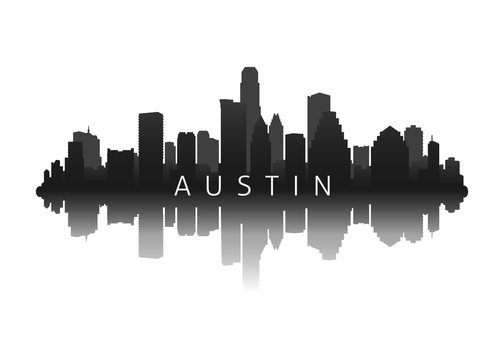 austin city skyline silhouette with reflection