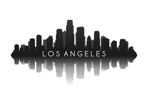 los angeles city skyline silhouette with reflection