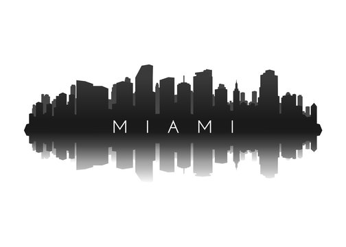 miami skyline with city illustration silhouette with reflection