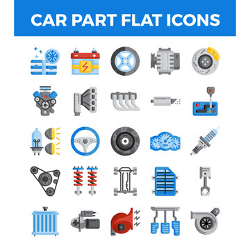 Vehicle and car parts flat icons. Pixel perfect alignment icons. Vector illustration