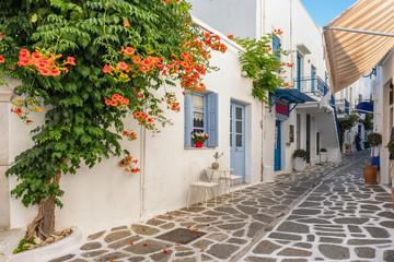 Typical narrow street in old town of Parikia, Paros island, Cyclades, Greece