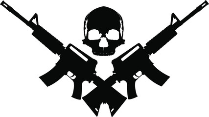 human skull and two crossed automatic assault rifles on a white background