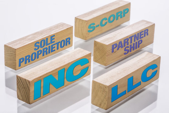 Main types of business formations including Sole proprietorship, S-corp, partnership, LLC and Incorporations, represented by building blocks.