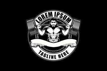weightlifting man with barbell vector logo template