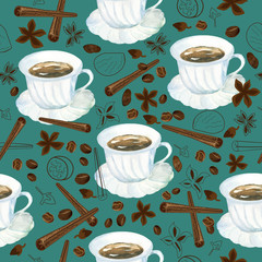 seamless pattern with watercolor cup of coffee and variety of spices