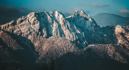 Twilight in the mountains. Panoramic view Fototapete