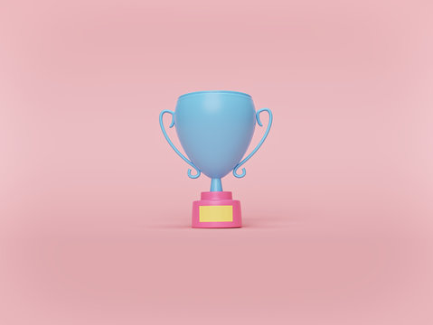 Trophy cup on pastel pink background. minimal victory concept. 3d rendering