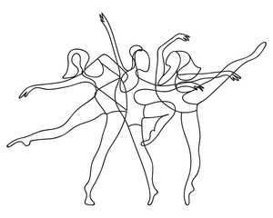 Ballerinas Women Group One Line Style. Minimalist Dance Background. Ballerinas Group Contour Drawing. Vector EPS 10.