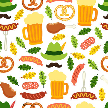 Cute Octoberfest seamless background with symbols as beer, sausage, pretzel, green german costume hunting hat with feather, mustache and oak leaves isolated on white