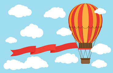 Classic hot air balloon with red ribbon flying from sky and clouds. Illustration of hot air balloon, romantic banner