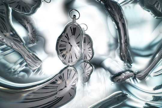 Reflection of the clock in the mirror surface. Concept: Time flows, changes, transforms.