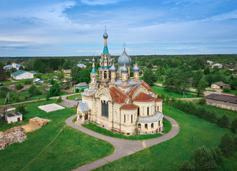 Russian Revival architecture style church in Kukoboy, Yaroslavl Oblast, Russia