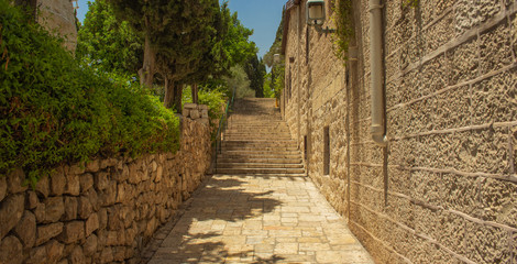medieval old city street narrow alley way with stairs between stone buildings and garden district