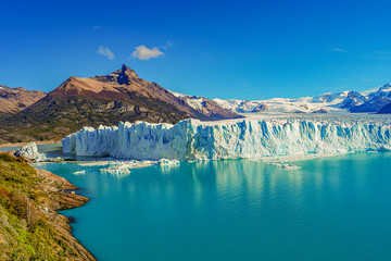 Wonderful view at the huge Perito Moreno glacier in Patagonia in