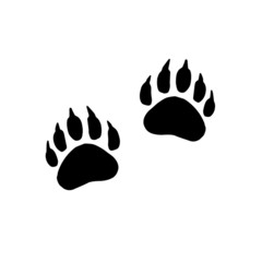 Vector flat black foot prints of grizzly bear steps isolated on white background
