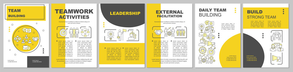Team building brochure template layout. Partnership, leadership. Flyer, booklet, leaflet print design with linear illustrations. Vector page layouts for magazines, annual reports, advertising posters