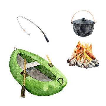 watercolor set fishing, camping - boat, fishing rod, bonfire, cauldron