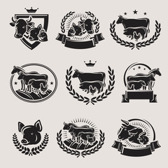 Farm animals labels and elements set. Collection icon farm animals. Vector