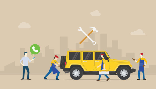 call car service auto mobile with team people of mechanical repair the car with modern flat style - vector