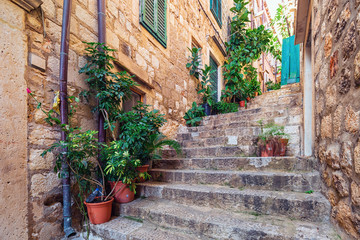 Street scene in old part of Dubrovnik, Croatia.