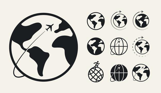 Trip Around The World. Travel Flight Airplane Earth Globe Orbit Concept. Flat Vector Icon Set.