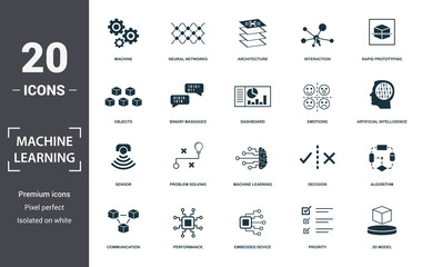 Machine Learning icon set. Contain filled flat machine learning, problem solving, algorithm, artificial intelligence, 3d model, emotions, interaction icons. Editable format Fotomurales