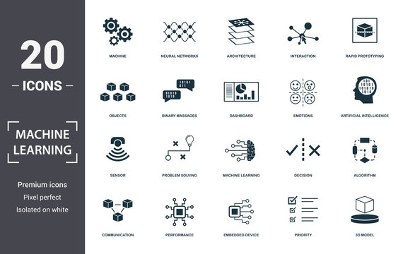 Machine Learning icon set. Contain filled flat machine learning, problem solving, algorithm, artificial intelligence, 3d model, emotions, interaction icons. Editable format