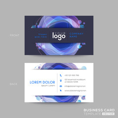 modern dark blue business card design with vibrant bold color fluid abstract graphic background