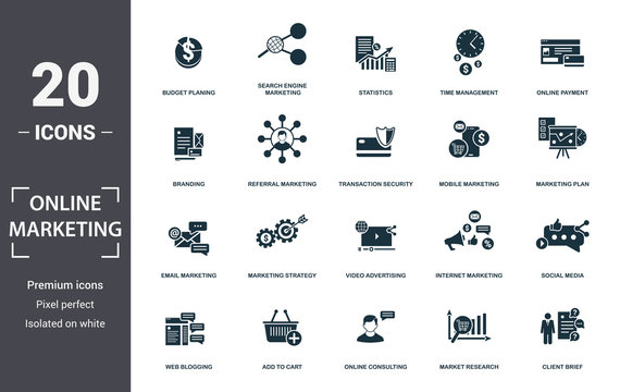 Online Marketing icon set. Contain filled flat email marketing, mobile marketing, statistics, search engine marketing, marketing plan, social media, branding icons. Editable format