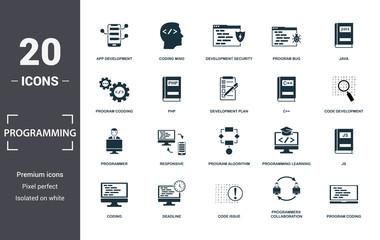 Programmer icon set. Contain filled flat coding, php, programming learning, app development, js, program algorithm, program bug icons. Editable format Wall mural
