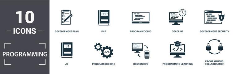 Programmer icon set. Contain filled flat development plan, programming learning, js, laptop coding, responsive, program coding icons. Editable format
