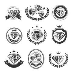 Diamond labels and elements set. Collection icon diamonds. Vector