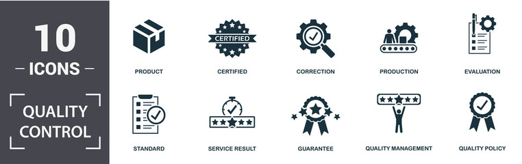 Quality Control icon set. Contain filled flat correction, certified, quality management, quality policy, production, standard, product, evaluation icons. Editable format