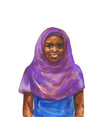Watercolor realistic child portrait