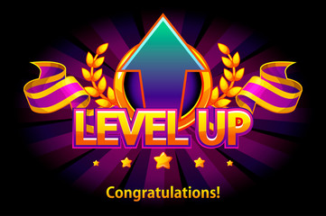 Level UP icon, game screen. Vector illustration with arrow and puple award ribbon. Graphical user interface GUI to build 2D games. Objects on a separate layer.