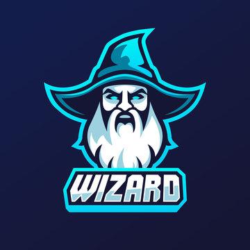 wizard warlock old man face logo template vector