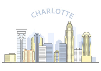 Charlotte cityscape, North Carolina - city panorama of Charlotte, skyline of downtown