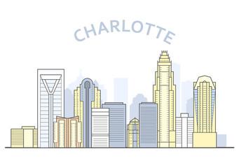 Charlotte cityscape, North Carolina - city panorama of Charlotte, skyline of downtown Wall mural