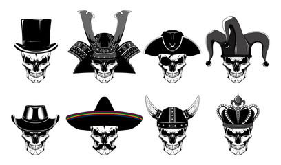 Set of vector images of skulls. Black and white images on a white background. Wall mural