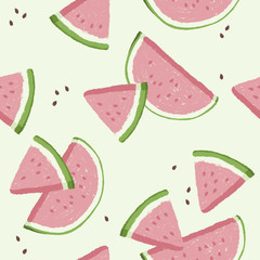 Watermelons, small and large slices. Cute pink watermelon slice design, seamless wallpaper, summer background.
