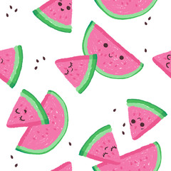 Bright watermelon seamless pattern. Summer funny vivid texture with slices and fruits