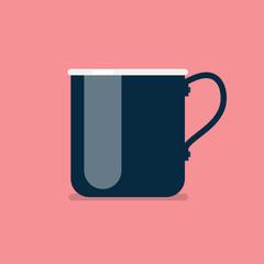 Metal mug in flat style