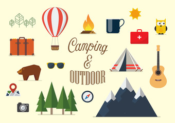 Collection of camping elements in flat design