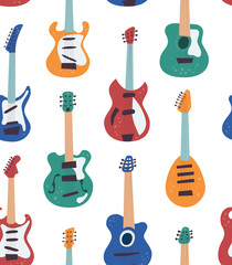 Guitar collection. Electric guitar, bass guitar, classical guitar. Vector seamless pattern in flat and cartoon style
