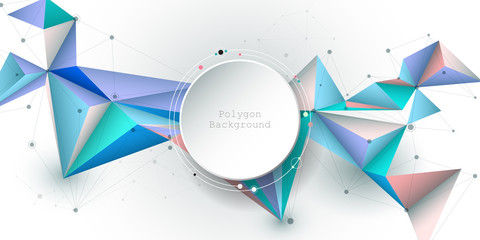 Illustration Abstract 3d paper circle with molecules, lines, geometric, polygon, triangle pattern. Vector design network communication technology on white gray background.Futuristic technology concept