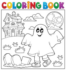 Photo sur Plexiglas Enfants Coloring book boy in ghost costume 1