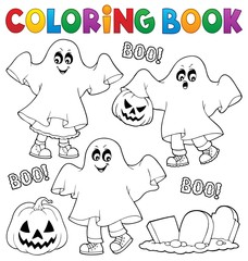 Coloring book kids in ghost costumes 1