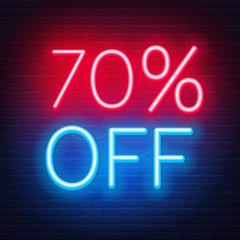 Fototapete - 70 percent off neon lettering on brick wall background. Vector illustration