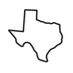 black outline of Texas map- vector illustration